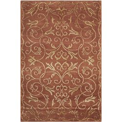 Safavieh Tibetan Collection TB417C Hand-Knotted Rust and Gold Silk & Wool Area Rug (2′ ...