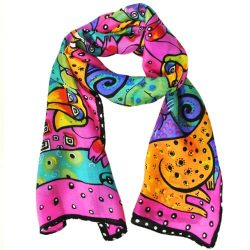 Wrapables Vibrant 100% Silk Long Scarf 51″ x 10.5″, Fuchsia Cats and Dogs