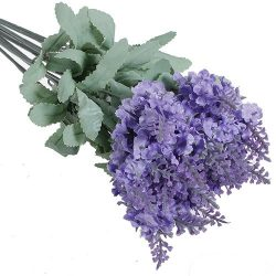 1x 10 Heads Artificial Lavender Silk Flower for Bouquets Wedding Home Party Decor (Light Purple) ...