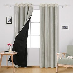Deconovo Double Layers Faux Dupioni Silk Blackout Curtains Thermal Insulated Grommet Blackout Li ...