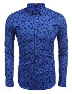 Coofandy Men's Wood Texture Design Irregular Stripes Printed Slim Fit Long Sleeves Dress S ...