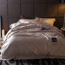 Jameswish Premium 4PC Silk Bedding Sets Duvet Cover Flat Sheets Pillowcases Cushion Luxury Satin ...