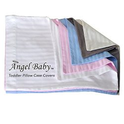Angel Baby Toddler Pillow Case Cover – BLUE, 100% NATURAL Cotton Percale, 400 Thread Count ...