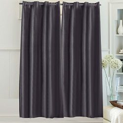 Beryhome's Montana Faux Silk Double-Layer Lined Full Blackout Grommet Window Curtains for  ...