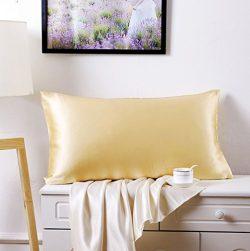 Silk Pillowcase for Hair and Skin 100 Percent Mulberry Natural Silk Pillow Shams, Standard Size, ...