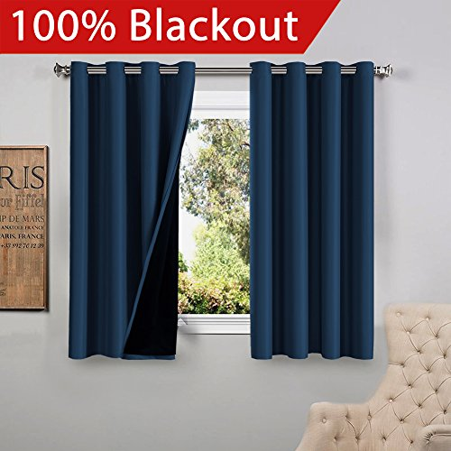 Flamingop Full Blackout Navy Curtains Faux Silk Satin With Black Liner Thermal Insulated Window