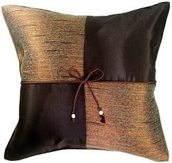 ARTIWA® Silk Throw Decorative Pillow Cushion Cover for Couch Bed Chocolate Brown Checker 16×16