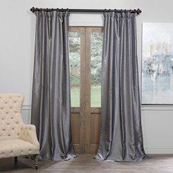Half Price Drapes PDCH-KBS7BO-84 Blackout Vintage Textured Faux Dupioni Curtain, Storm Grey, 50 X 84
