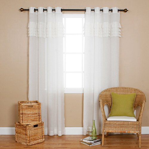 Iyuego White Sheer Window Curtains Drape Panels Treatment