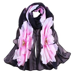 Christmas Gift, Egmy 1PC Women Soft Thin Chiffon Silk Scarf Flower printed Scarves Wrap Shawl (B ...