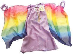 Sarah's Silks Fairy Dress in Lavender with Rainbow Wings