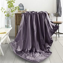 THXSILK 100% Mulberry Silk Inside and Out Luxury Throw Blanket for Sofa Office Travel Children & ...