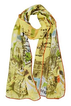 Luxurious 100% Charmeuse Silk Long Scarf Shawl with Hand Rolled Edge (Paris View)