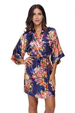KimonoDeals Women's Satin Short Floral Kimono Robe For Wedding Party, Navy S