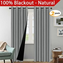 H.Versailtex 100% Blackout (2 Panels) Solid Grey Faux Silk Lined Curtains, Thermal Insulated Pan ...