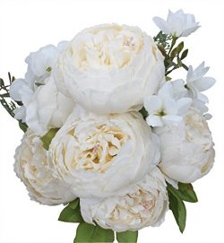 Duovlo Artificial Peony Silk Flowers Fake Flowers Vintage Wedding Home Decoration,Pack of 1 (Spr ...