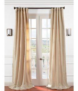 Half Price Drapes PTCH-JTSP130907-96 Faux Silk Taffeta Curtain, Antique Beige