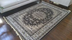 Black Ivory Grey Brown New Silk Traditional Isphan Area Rugs Ultra Low Pile 5'2×7&#82 ...