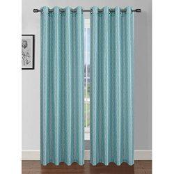 Window Elements Jasper Printed Faux Silk 76 x 84 in. Grommet Curtain Panel Pair, Aqua/Grey