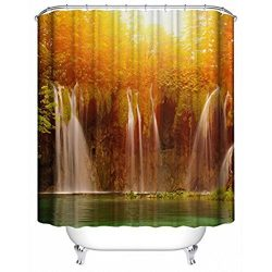 Polyester Fabric Shower Curtain Spa Decor,Fheaven Mildew Resistant Bathroom Mountain Stream Them ...