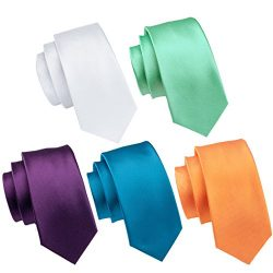 Hi-Tie 5PCS Formal Solid Tie for Men Set Woven