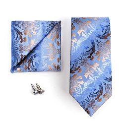 Landisun SILK Various Paisleys Mens SILK Tie Set: Necktie+Hanky+Cufflinks (3.75″Wx59″ ...