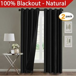 H.Versailtex Extra Long Full Blackout Dupioni Faux Silk Curtains / Window Treatments Nickel Grom ...