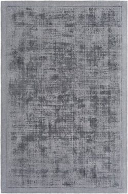 Artistic Weavers Solid/Striped Rectangle Area Rug 4'x6′ Charcoal Silk Route Collection