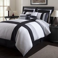 8 Pc. Faux Silk Bella Comforter Set with Black, White and Grey Stripes Full Size