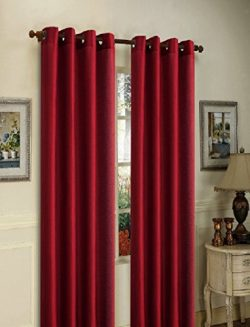 Gorgeous Home 1 PANEL SOLID BURGUNDY SEMI SHEER WINDOW FAUX SILK ANTIQUE BRONZE GROMMETS CURTAIN ...