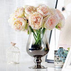 1Bouquet 5 Heads Artificial Peony Silk Flower Leaf Home Bridal Wedding Party Festival Bar Decor