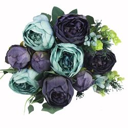 JAROWN 9 Heads Vintage Fake Peony Artificial Bouquet Oil Painting Silk Flowers for Party Wedding ...