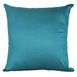 Set of 2 Teal Art Silk Pillow Covers, Plain Silk Cushion Cover, Solid Color Teal Throw Pillow, ( ...
