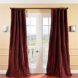 1pc 84 Syrah Solid Color Faux Silk Taffeta Girls Curtain Single Panel, Maroon Red Allover Patter ...