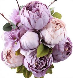 Duovlo Fake Flowers Vintage Artificial Peony Silk Flowers Wedding Home Decoration,Pack of 1 (New ...