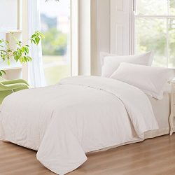 THXSILK Washable Summer Comforter 100% Natural Mulberry Silk Filled in White Cotton Cover, King  ...
