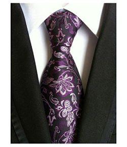 Wehug Men's Classic Paisley Tie Silk Woven Necktie Jacquard Neck Ties For Men Purple LG0025