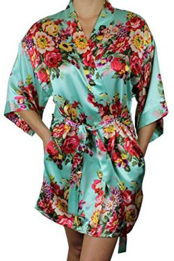 Women's Satin Floral Kimono Short Bridesmaid Robe W/ Pockets – Mint Green M/L