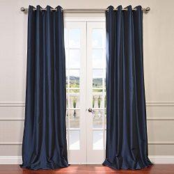 Half Price Drapes PTCH-BO194010-108-GR Grommet Blackout Faux Silk Taffeta Curtain, Navy Blue
