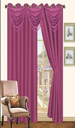 Purple Faux Silk Window Curtain Panel 8 Grommets Curtains – 57″X90″, Brown