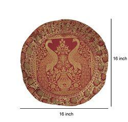 Silk Fabric Peacock Cushion Cover 16 X 16 Inches
