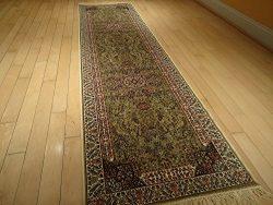 Luxury Silk Gold Rugs Traditional Persian Kashan Rugs 2×8 Narrow Runner Rugs Beige Area Rug ...