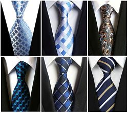 Wehug Lot 6 PCS Men's Ties Silk Tie Woven Necktie Jacquard Neck Ties Classic Ties For Men  ...