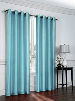 2 Pack: Regal Home Collections Semi Sheer Faux Silk Grommet Curtains – Assorted Colors (Tu ...