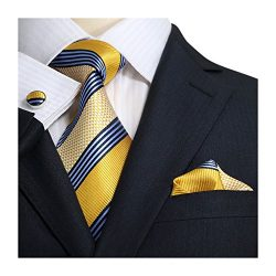 Landisun Stripes Mens SILK Tie Set: Tie+Hanky+Cufflinks 15N Blue Yellow, 3.25″Wx59″L