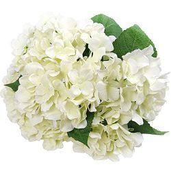Felice Arts Artificial Flowers 18″ Silk 7 Big Head Hydrangea Bouquet for Wedding, Room, Ho ...