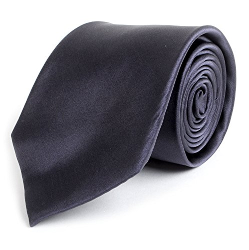 Solid Silk Mens Plain Multi Color Tie, Charcoal