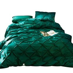 KTLRR 4-Pieces Imitated Silk Luxury Bedding Set Solid Color Cotton Pinch Pleat Bed Set King Quee ...