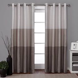 Exclusive Home Curtains Chateau Striped Faux Silk Grommet Top Window Curtain Panel Pair, Taupe,  ...