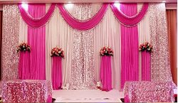 Wedding Stage Decorations Backdrop Party Drapes with Swag Silk Fabric Curtain (Rose Red)